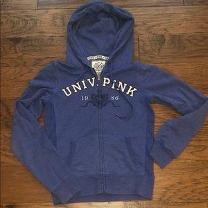 Blue University Pink zip up hoodie